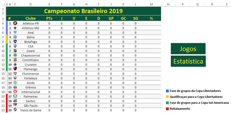 Tabela Do Brasileirao 2019 Editavel Loja Excel Easy