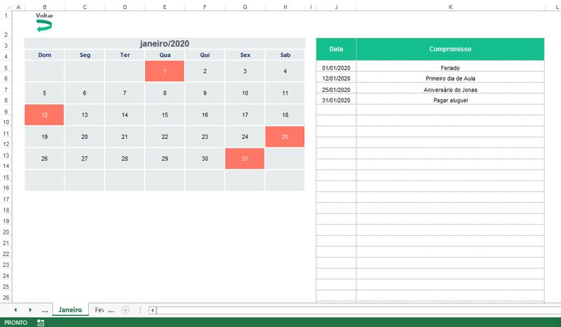 planilha de calendário Excel