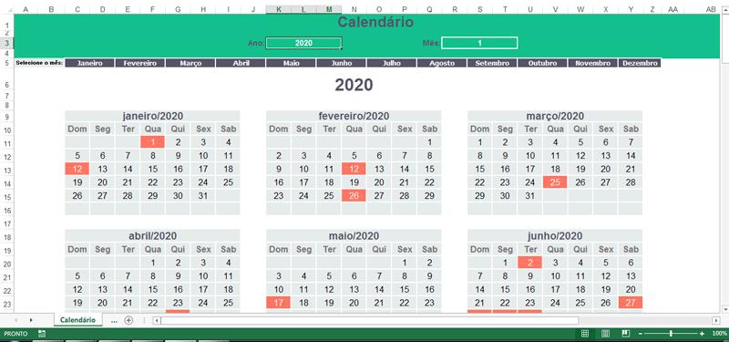 Planilha de compromissos no Excel