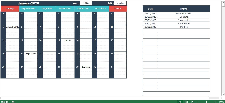 Planilha de calendário no Excel