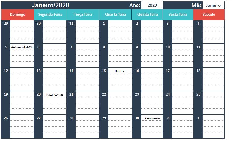 Planilha de Agenda no Excel