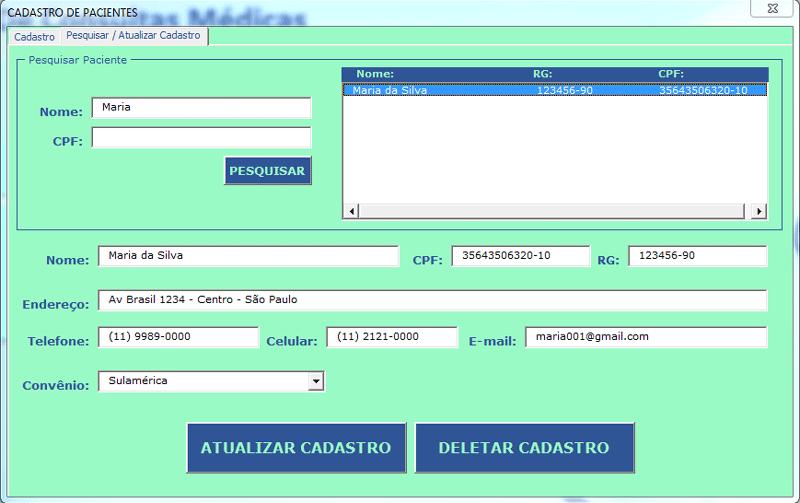 Cadastro de pacientes Excel