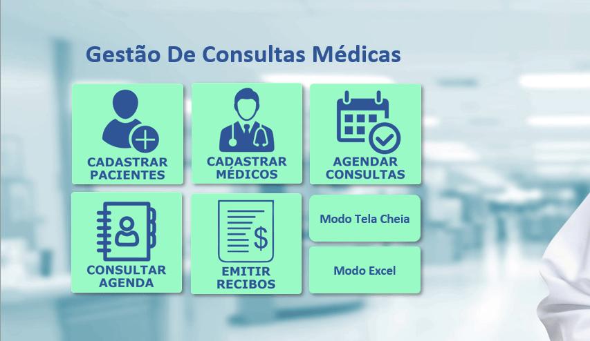 Menu Inicial - Planilha de Consultas Médicas