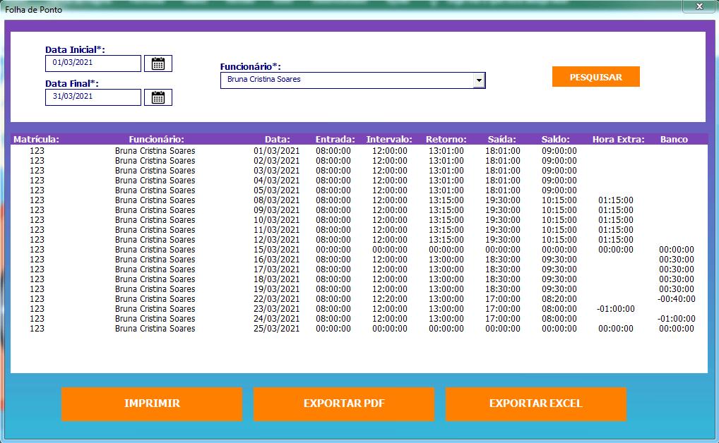 Gerar folha de ponto no Excel