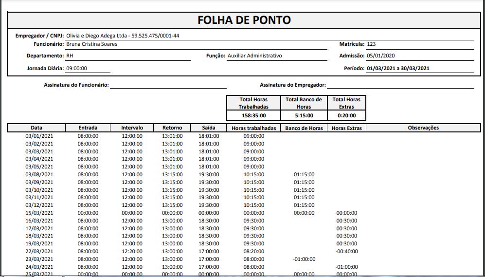 modelo de folha de ponto no Excel